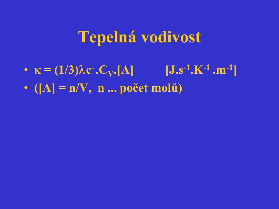 Tepelná vodivost  = (1/3)c- .CV.[A] [J.s-1.K-1 .m-1]